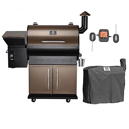 Z GRILLS ZPG-700DPRO Wood Pellet Grill Smoker for Outdoor Cooking with Wireless Meat Probe Thermometer, 2021 Upgrade, 8-in-1