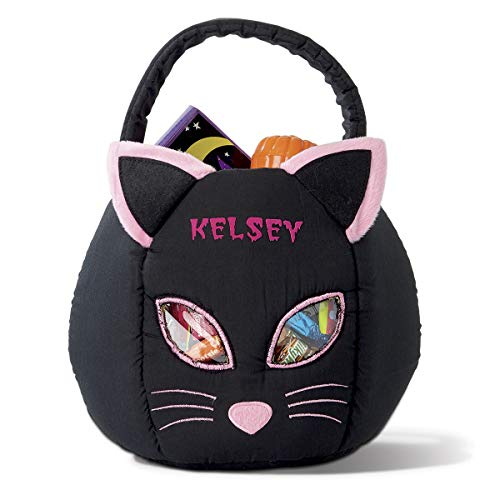 Lillian Vernon Black Cat Personalized Halloween Treat Bag – Large Trick or Treat Tote & Candy Basket for Kids, Polyester, 9