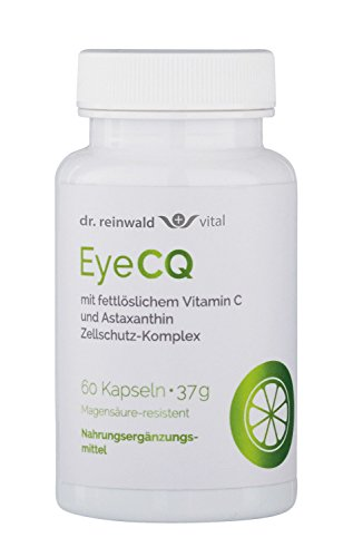 dr.reinwald EyeCQ – Das erste fettlösliche Vitamin C – Antioxidativer Zellschutz-Komplex mit Vitamin C & Astaxanthin – Bei Stress, erhöhter Belastung der Augen u.v.m. – 60 Kapseln