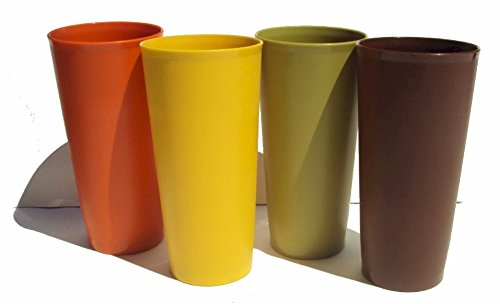 Vintage Tupperware Set of 4 large Tumblers 18 Ounce Fall Harvest Colors