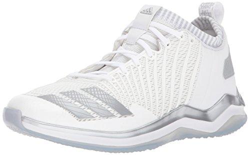 adidas Men's Icon Trainer Baseball Shoe, White/Metallic Silver/Light Grey, 4.5 Medium US