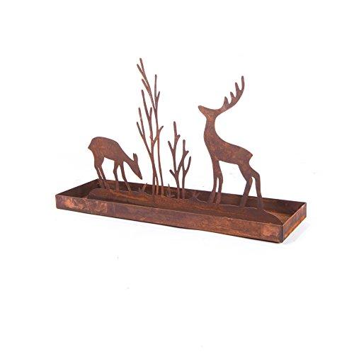 ecosoul Objet de décoration en forme de cerf - Rectangulaire - En métal rouillé - 50 x 15,5 x 32 cm