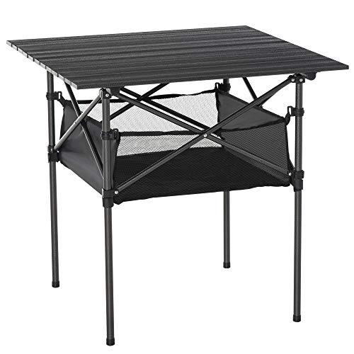 Outsunny Mesa de Camping Plegable Mesa de Picnic con Espacio Almacenaje de Malla y Bolsa de Transporte para Jardín Patio Exterior 70x70x69 cm Negro
