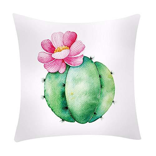 Aiserkly Federa per Cuscino con Stampa di Foglie di Cactus, in Poliestere, per Divano e Auto, 45 x 45 cm, Poliestere, D, 45cm*45cm/18 * 18'