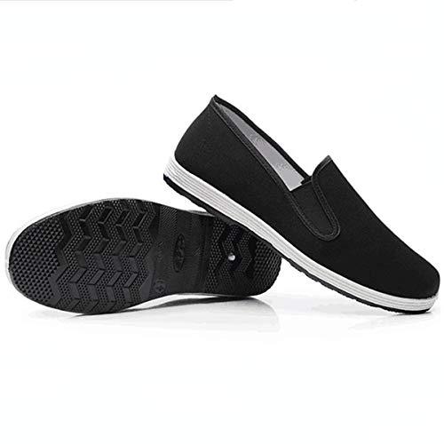 Zapatos Chinos Tradicionales de Kung Fu Zapatos de Tela Antideslizantes Antiguos de Beijing Zapatos de Tai Chi de Lona Transpirable con Suela de Goma Melaleuca Negro(275mm EU45)