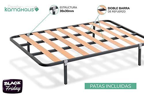 KAMA HAUS SOMIER de lámina Ancha Estructura de 30x30 | Láminas de Chopo | con Patas cuadradas 27 cm | Fabricado en España |135 x 190 cms.|