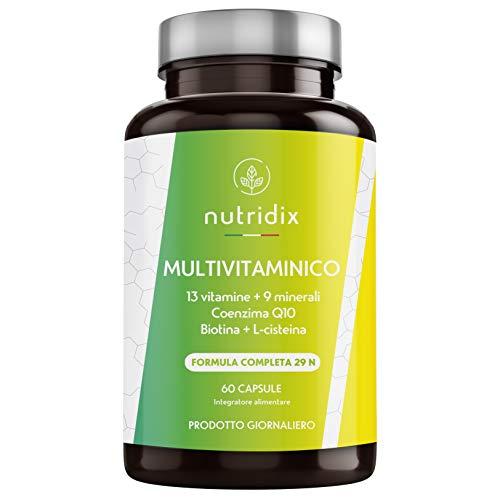 Multivitaminico Multiminerale Naturale | 29 Nutrienti Attivi | 9 Minerali, 13 Vitamine (A, D, C, D, E, K), Biotina, Coezima Q10 e L-cisteina | 60 Capsule | Prodotto da Nutridix