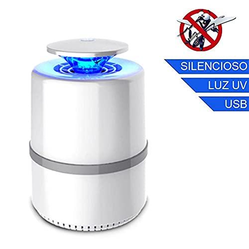 Nueva Lámpara LED Antimosquitos Atrapa Mosquitos Luz UV 360º USB Silenciosa 5W / 5V Mata Insectos Color Blanco