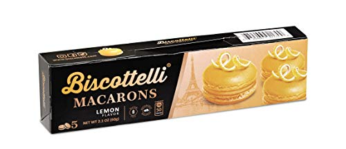 Biscottelli Macaron Cookies (Lemon), All Natural, Gluten Free, 5 Individually Wrapped, Shelf Stable Baked Gourmet Cookies made with a French Recipe