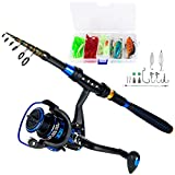 AlwaysGO Fishing Rod and Reel Combos with Fishing Line, Lures Kit and