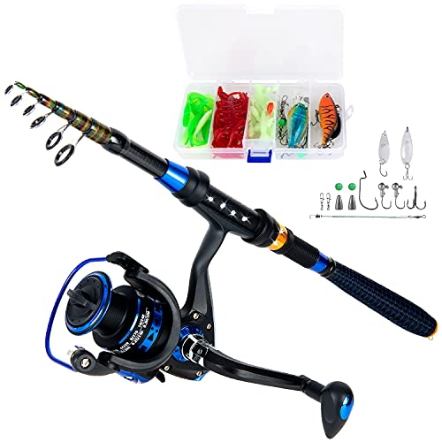 AlwaysGO Fishing Rod and Reel Combos with Fishing Line, Lures Kit and Carrier Bag for Saltwater Freshwater, Carbon Fiber Telescopic Fishing Pole Best Gift for Father, Husband, Child Kids or Beginner