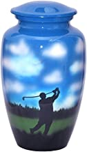 World Bazaar Golf Cremation Funeral Urn Hand Painted Cloud Large Burial Urn for Human Ashes Adult Size with Velvet Bag