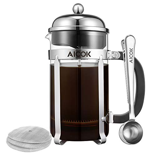 Aicok French Press, 34Oz Glass French Press Coffee Maker, 8 Cup Tea Maker