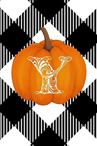 Y: Cute Pumpkin Monogram Initial Letter Y White Buffalo Plaid Check Personalized Gratitude Journal for Women and Girls