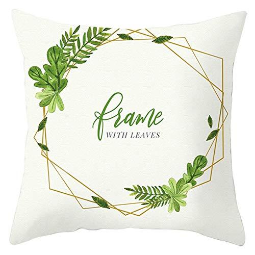 Amody Fundas Cojines Sofa Rectangular, Cojines Funda 45x45cm Frame with Leaves Fundas de Almohada para Sofá, Dormitorio Style 20