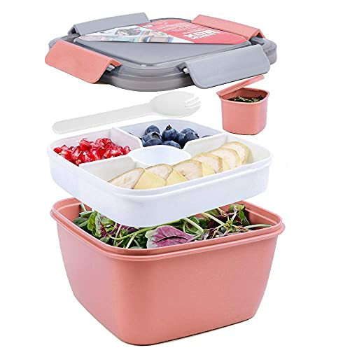 shopwithgreen 52 OZ to Go Salad Container Lunch Container, BPA-Free, 3-Compartment for Salad Toppings and Snacks, Salad Bowl with Dressing Container, Built-in Reusable spoon, Microwave Safe (Pink)
