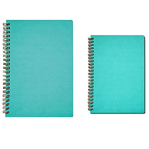 2 piezas A5 / B5 con forro de tapa blanda, cuaderno de bobina, diario, escritura, práctica, bloc de notas, libro de diario, papel reglado por la universidad, para notas, tareas, reuniones, oficina (1