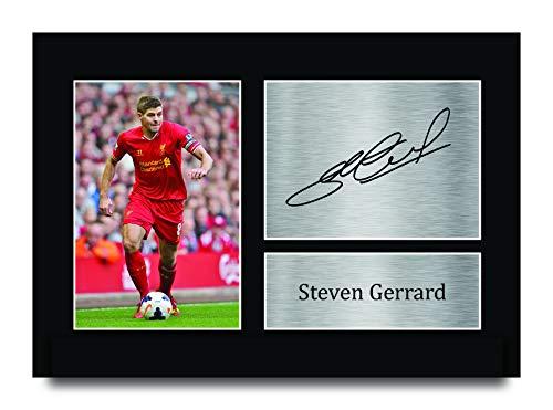 HWC Trading Steven Gerrard A4 Sin Marco Regalo De Visualización De Fotos De Impresión De Imagen Impresa Autógrafo Firmado por Liverpool Los Aficionados Al Fútbol