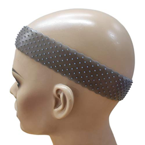 Flexible Silicon Non Slip Headbands Comfortable Strong Hold on Heads for wigs and Frontal 8.5×1.5 Inches Stretchable (Black 1PC) by Hywel