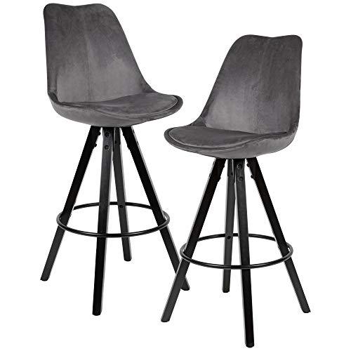 FineBuy 2er Set Barhocker Samt/Massivholz Dunkelgrau | Design Barstuhl Schwarze Beine Skandinavisch 2 Stück | Tresenhocker mit Lehne Sitzhöhe 77 cm