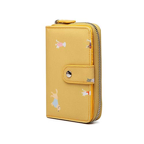 Monedero amarillo para mujer con cierre y cremallera