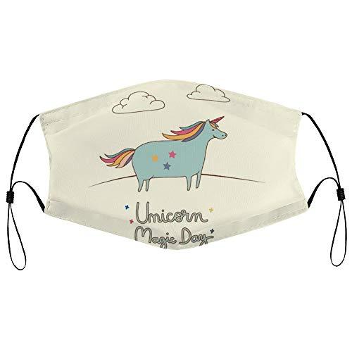 Dkisee Fashion Unisex Staubmaske mit Filterelement, verstellbare Ohrschlaufen, Gesichtsmaske für den Außenbereich (Einhorn-Karten-Illustration, Vector)