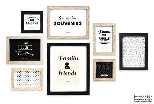 Home Deco Factory HD4691 Lot de 8 Cadres Photos, Bois + PVC, Noir/Blanc/Marron, 22,2 x 2 x 27,3 cm