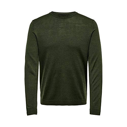 ONLY & Sons ONSGARSON 12 Melange Crew Neck Knit Maglione, Verde (Forest Night Forest Night), S Uomo