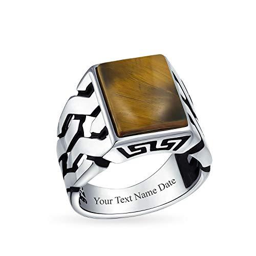Personalizado cubano Curb Link cadena banda tigre ojo rectángulo signet anillo para hombres 925 plata esterlina personalizado grabado