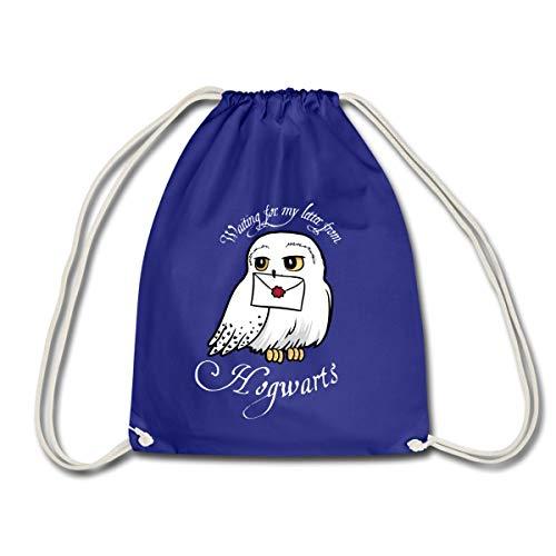 Spreadshirt Harry Potter Hedwig Letter Drawstring Bag, royal blue