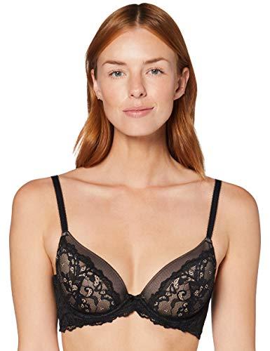Amazon-Marke: Iris & Lilly Damen Halbschalen-BH aus Spitze,Schwarz (Black Beauty),90C