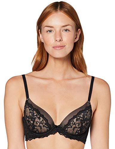 Amazon-Marke: Iris & Lilly Damen Halbschalen-BH aus Spitze, Schwarz (Black Beauty), 85C, Label: 38C
