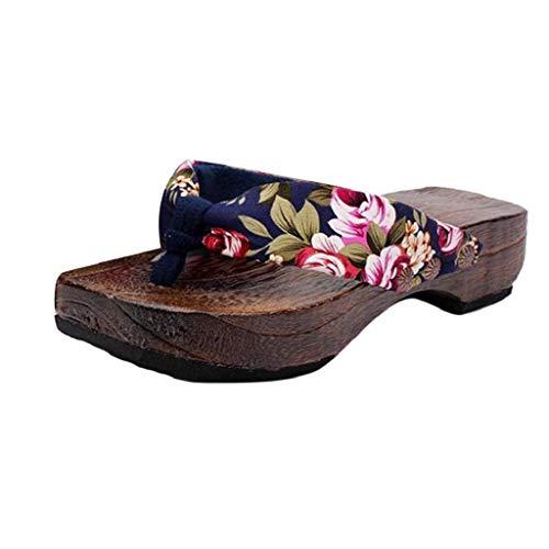 Sandalias Mujer Verano 2019 SHOBDW Floral Zapatillas En Oferta Zapatos de Plataforma Sandalias de Madera Zueco Zapatillas de Madera Chanclas Mujer Tallas Grandes(Azul,EU37)