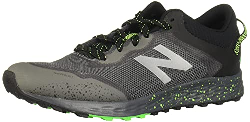 New Balance Kid's Fresh Foam Arishi Trail V1 Lace-Up Running Shoe, Lead/Black/Energy Lime, 2 Little