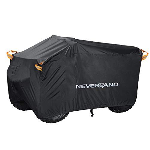 NEVERLAND XXXL Quad ATV Abdeckplane NEVERLAND Fahrzeug Abdeckung Schutz Cover 190T 256*110*120cm Phosphoreszierend Schmutzabweisend Winterfest Staubdicht Regen UV-Schutz Schwarz