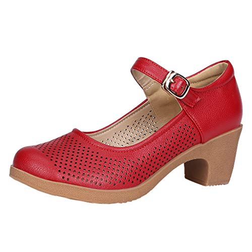 WWricotta Women Ladies Rumba Waltz Prom Ballroom Latin Salsa Dancing Singles Leather Shoes(rot,42)