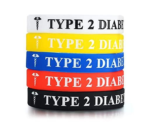 AMOZ - Braccialetto di emergenza in gomma siliconica, tipo 1, per diabete, 5 colori, B: diabete tipo 2, 5 pezzi