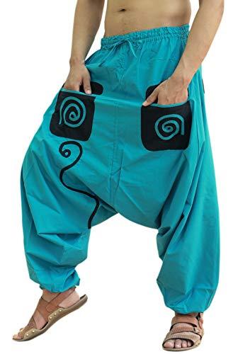 Sarjana Handicrafts - Pantaloni da spiaggia etnici indiani da uomo, in cotone, con tasche, colore: Nero Turchese Taglia unica