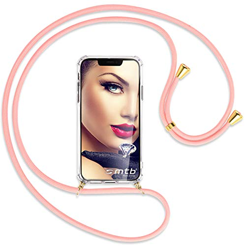 Preisvergleich Produktbild mtb more energy® Handykette kompatibel mit Motorola One Action (6.3'') - rosa / Gold - Smartphone Hülle zum Umhängen - Anti Shock Full TPU Case