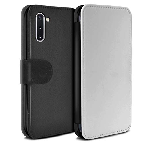 Stuff4 gepersonaliseerd hoesje portemonnee cover voor Samsung Galaxy Note 10/5G, gedrukt aangepaste LV tekst wit ontwerp initiële naam tekst aangepaste DIY Flip PU leer