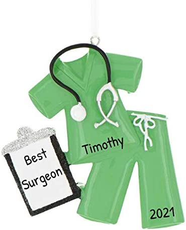 Personalized Scrubs Christmas Tree Ornament 2020 Green Nurse with Stethoscope Glitter Folder product image