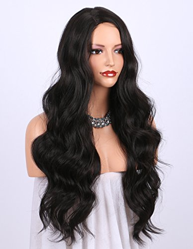 K'ryssma Dark Brown Synthetic Wigs for women - Natural Looking Long Wavy Right Side Parting NONE Lace Heat Resistant Replacement Wig Full Machine Made 24 inch (#2)