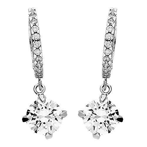 MYA art Damen Ohrringe Creolen Hängend 925 Silber mit Swarovski Elements Kristall in Diamant Form Weiß MYAWGOHR-16