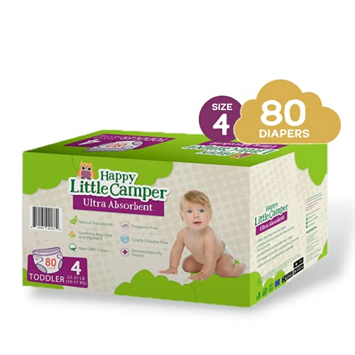 Happy Little Camper Ultra-Absorbent Hypoallergenic Natural Disposable Baby Diapers, Chlorine-Free Protection for Sensitive Skin, Size 4, 80 Count