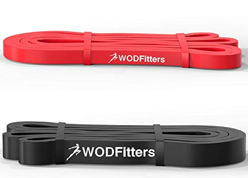 WODFitters 2 Resistance Band Bundle - 1 Red and 1 Black Pull Up Band