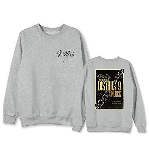 Kpop Straykids World Tour District 9 Unlock Sweat-Shirt Manche Longue Col Rond Sweat-Shirts Harajuku Pullovers Minho Jisung Woojin Changbin Felix (3,XXL)