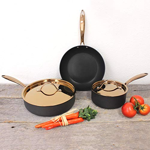 BergHOFF Ouro Black Hard Anodized 5Pc Starter Set, Rose Gold Hndle & Lid