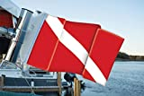 Diver Down Scuba Flag, by Fly a Flag -Designed to Attach to Rod Holders, Rocket Launcher, or Any Vertical Pole or Post