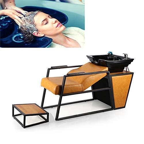 Fauteuil Bac Shampooing Lavage Cuvette Basculante Salon avec Mitigeur et Pommeau de Douche Lavage des Cheveux Shampooing