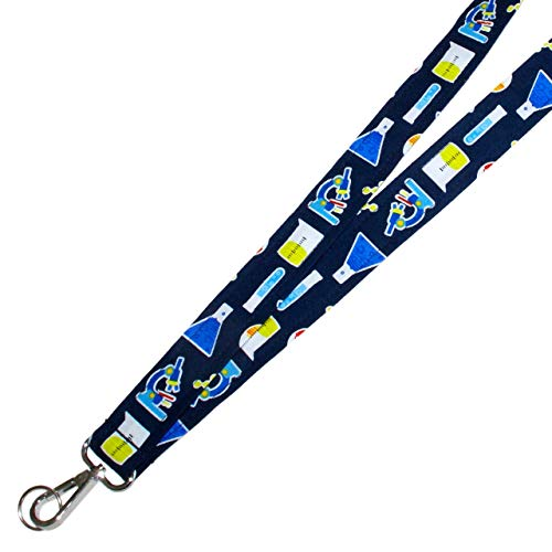 Chemistry Lanyard - Lanyard Keychain - Microscope - Test Tube - Beaker - Science Teacher - Laboratory Lanyard - 1x36 Inch Fabric Strap With Swivel Clip